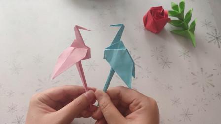 折纸:网红火烈鸟手工折纸教程,步骤和千纸鹤的折法差不多