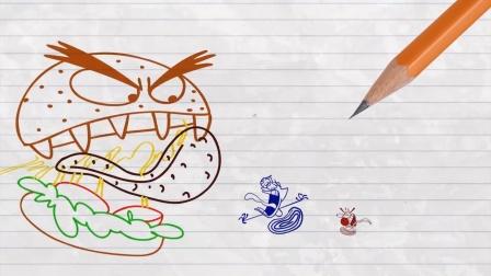 铅笔人动画:铅笔人遇到了超级汉堡怪!