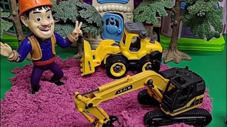 朵朵和乔治不知道光头强在干什么了,那我们 看一看,原来是建游乐场
