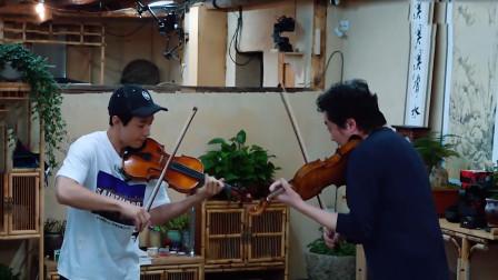 刘宪华拉小提琴大赏:大华和吕思清拉小提琴,紧张得脚趾都扣着