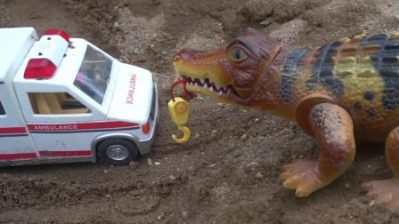 儿童玩具车表演:鳄鱼登场救援被困的救护车!
