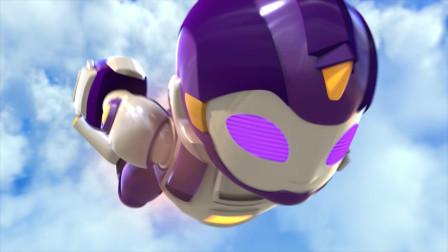 身穿紫色盔甲的机器人背上机关打开喷出火花