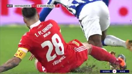 第35分钟柏林联球员特里梅尔黄牌