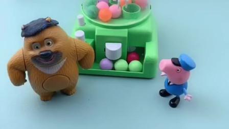 熊二和小猪乔治一起玩,他们一起商量,吃饭的时候要吃的美食