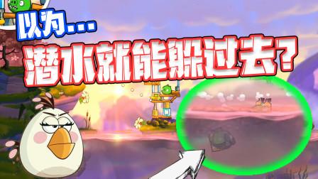 愤怒的小鸟2:胆小鬼绿猪头还躲在水下?白公主看了非常开心!