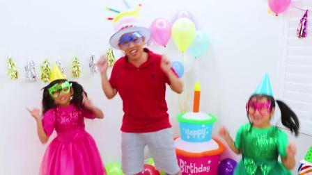 两个小姑娘开开心心唱生日歌吃生日蛋糕