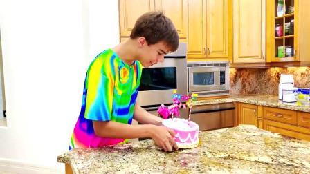 哥哥为姐姐准备了一个蛋糕庆祝生日,妹妹没有忍住偷偷吃了