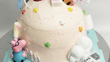 最新款网红球形小猪佩奇生日蛋糕,可爱的小猪佩奇小朋友们人人爱