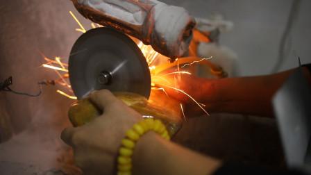 里产的金丝玉原石,切出来是什么样?能做什么东西?