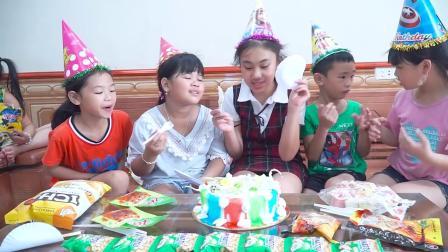 孩子们去商店买生日蛋糕给好朋友过生日,到教室学习游泳