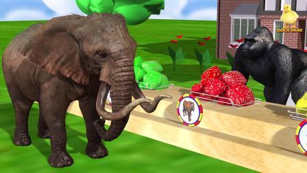 大猩猩卖各种口味的饼干,大象和狮子吃了饼干,变颜色动画