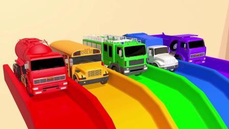 汽车从轨道滑下来组成水果蛋糕,趣味动画
