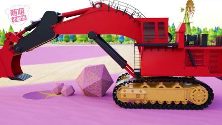 挖掘机和工程车挖掘并运输彩色宝石,挖掘机表演,趣味早教动画