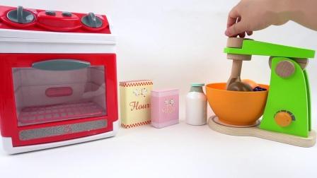 益智玩具,用彩泥制作水果蛋糕,水果切割玩具和微波炉