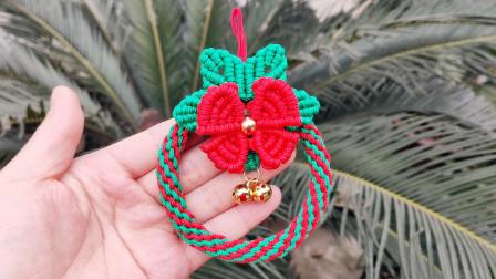 很漂亮的圣诞花环挂件,伞绳编织教程