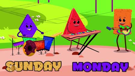 各种形状的饼干卡通小人教小朋友看动画学习认识星期几英文
