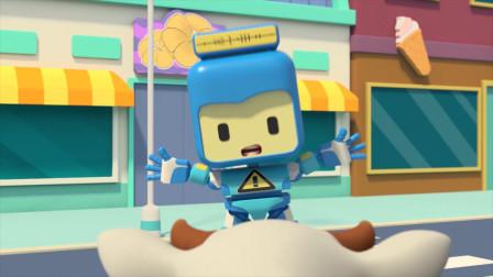 儿童早教益智动画:奶牛正面冲向机器人鲁鲁