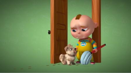 萌娃想趁妈妈回来前好好表现,狗狗进来毁了他所有的努力