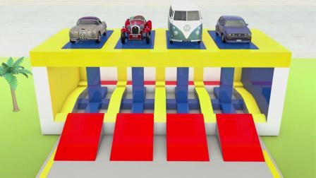 小兔彩虹屋:汽车小队出发去改装工厂染上新的颜色