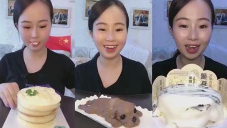 美女试吃爆浆蛋糕和小狗蛋糕,一口下去超过瘾!