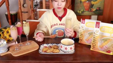 大胃王小姐姐吃芒果麦片配酸奶,这口味超也太馋人了吧