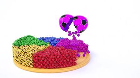 益智动画英语启蒙,奇趣蛋足球拼出彩虹蛋糕