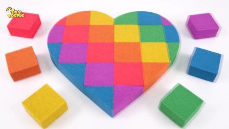 益智手工童谣儿歌,用太空沙DIY彩虹爱心蛋糕,学习颜色
