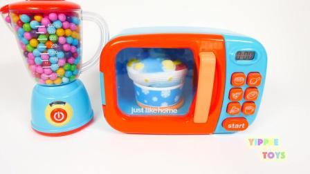 有趣的彩虹糖微波玩具软绵绵的蛋糕为孩子们学习颜色!