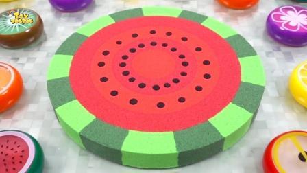 亲子早教益智玩具,儿童手工DIY太空沙西瓜蛋糕模型!