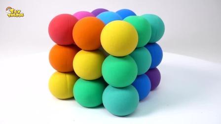 太空沙手工益智玩具学习颜色,DIY彩虹糖果方块爱心蛋糕和烤肉