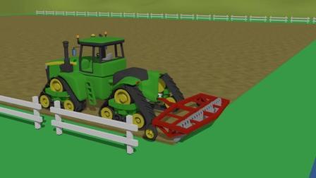 亲子早教益智动画,3D动漫组装农场拖拉机耕地机开垦土地