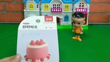 今天是围裙妈妈的生日,大头要送给妈妈一个蛋糕,你们说大头的蛋糕好看吗