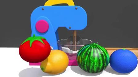 水果玩具放进蛋糕搅拌机里变彩虹糖足球兔子杯彩豆果汁机变动物