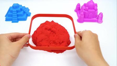 儿童益智:太空沙制作小猪佩奇和乔治的彩虹屋