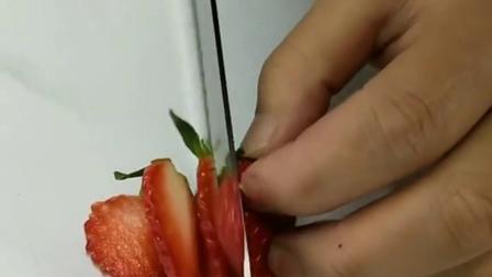 草莓切法水果蛋糕装饰哦