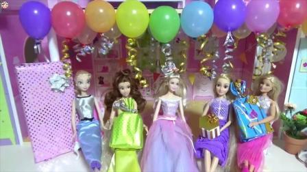 芭比娃娃快乐的生日聚会,分享生日蛋糕