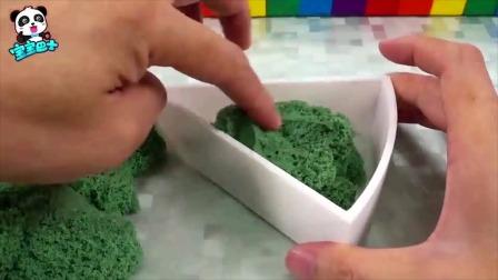 宝宝巴士:用太空沙制作慕斯蛋糕,锻炼宝宝的动手能力