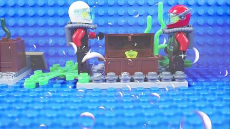 乐高卡通:两个潜水者在海底挖掘出了一个神秘箱子