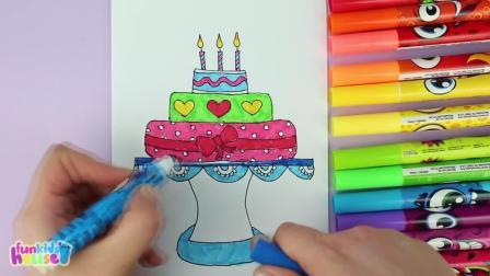 味启蒙,小萝莉画的生日蛋糕,学习颜色