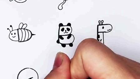 儿童简笔画:用字母画各种小动物