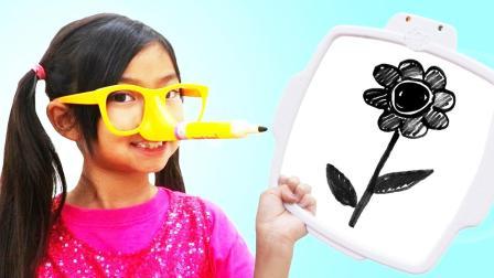 小萝莉挑战用鼻子假装玩铅笔画画
