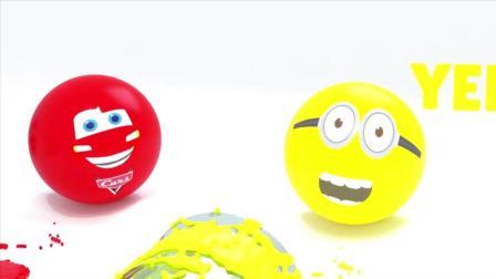 卡通宝宝动画:用足球学习颜色,用油漆桶学习颜色,太有趣了