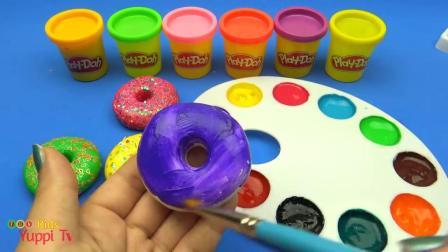 儿童创意手工学颜色,用水彩涂色制作闪闪发光的彩泥甜甜圈