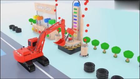 颜色拖拉机的组合,益智房子的生活,儿童玩具的动漫