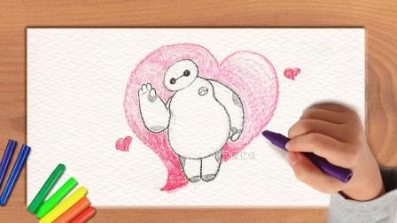 儿童画涂鸦手绘,如何画充满爱心的机器白简笔画