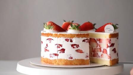 高颜值草莓砖蛋糕!教你在家就能做