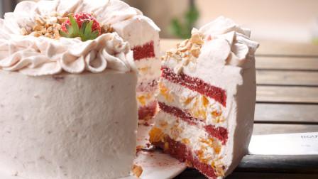 教你在家做橙子草莓红丝绒蛋糕,好吃又好看,寓意心想事成