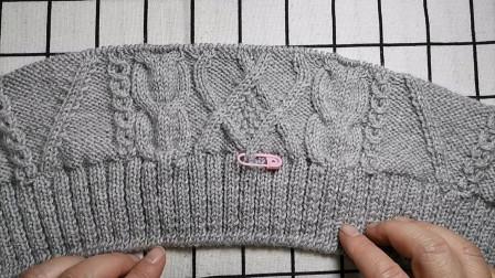 小菱形花毛衣后片的编织教程十七,讲解花型第二十五行的编织方法图解视频