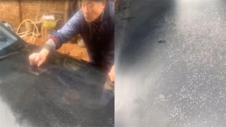 """""""爱""""的代价!永州老父亲用钢丝球给儿子洗车,车前盖秒变星空面"""