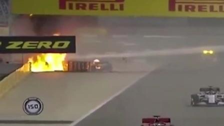F1赛车撞车后起火断成两截,车手火海里极限逃生,全程惊心动魄!